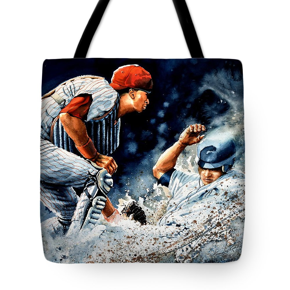 Sports Art Tote Bag featuring the painting The Slide by Hanne Lore Koehler