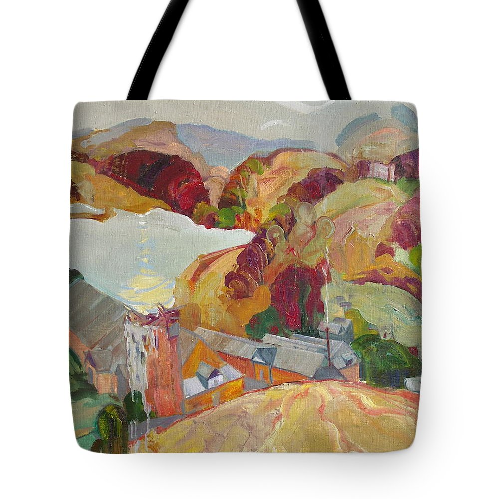 Oil Tote Bag featuring the painting The Slovechansk Edge by Sergey Ignatenko