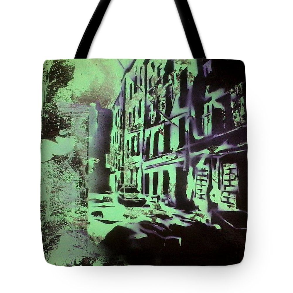 Green Tote Bag featuring the painting The Slow Beat by Tim Blackburn