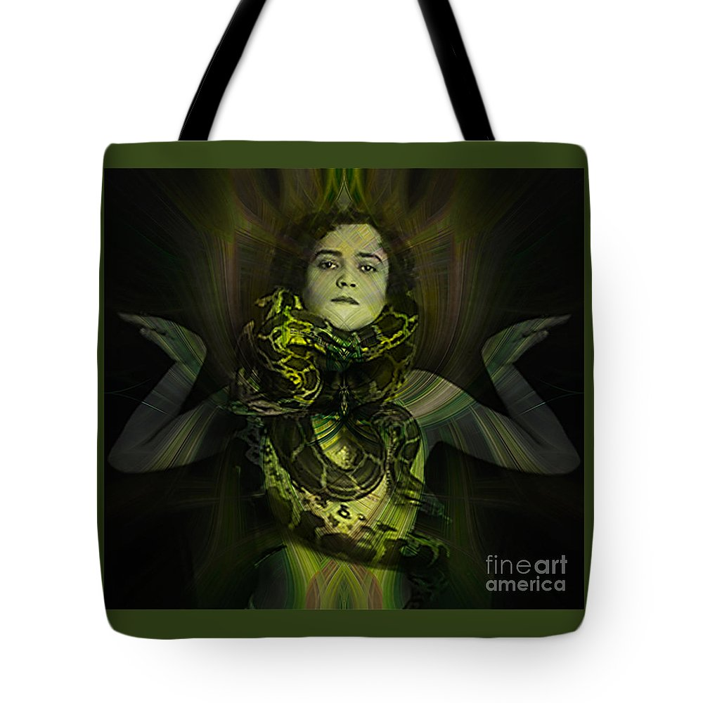 #conceptual Tote Bag featuring the photograph The Snake Charmer by Debra Fedchin