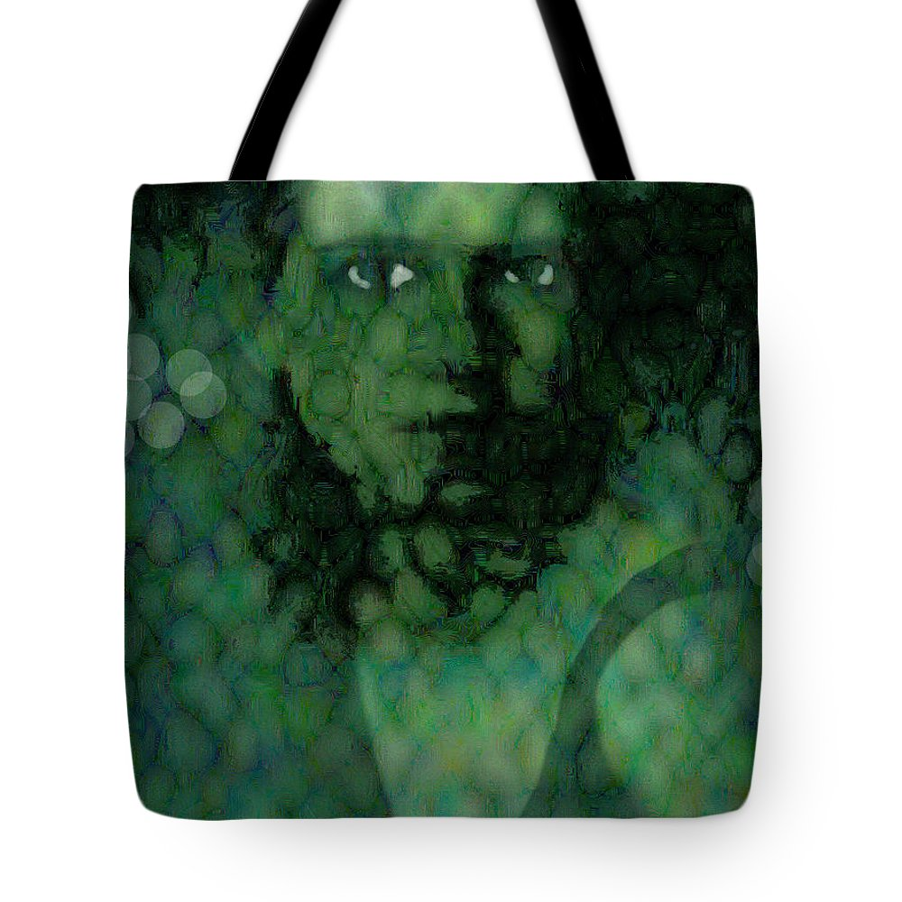 Bizarre Tote Bag featuring the digital art The Snake Lady by Seth Weaver