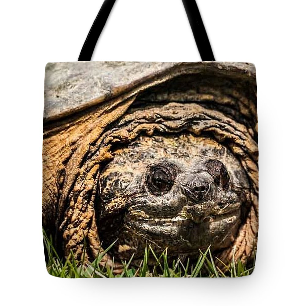 Snapping Turtle Tote Bag featuring the photograph The Snapper by Heather Hubbard