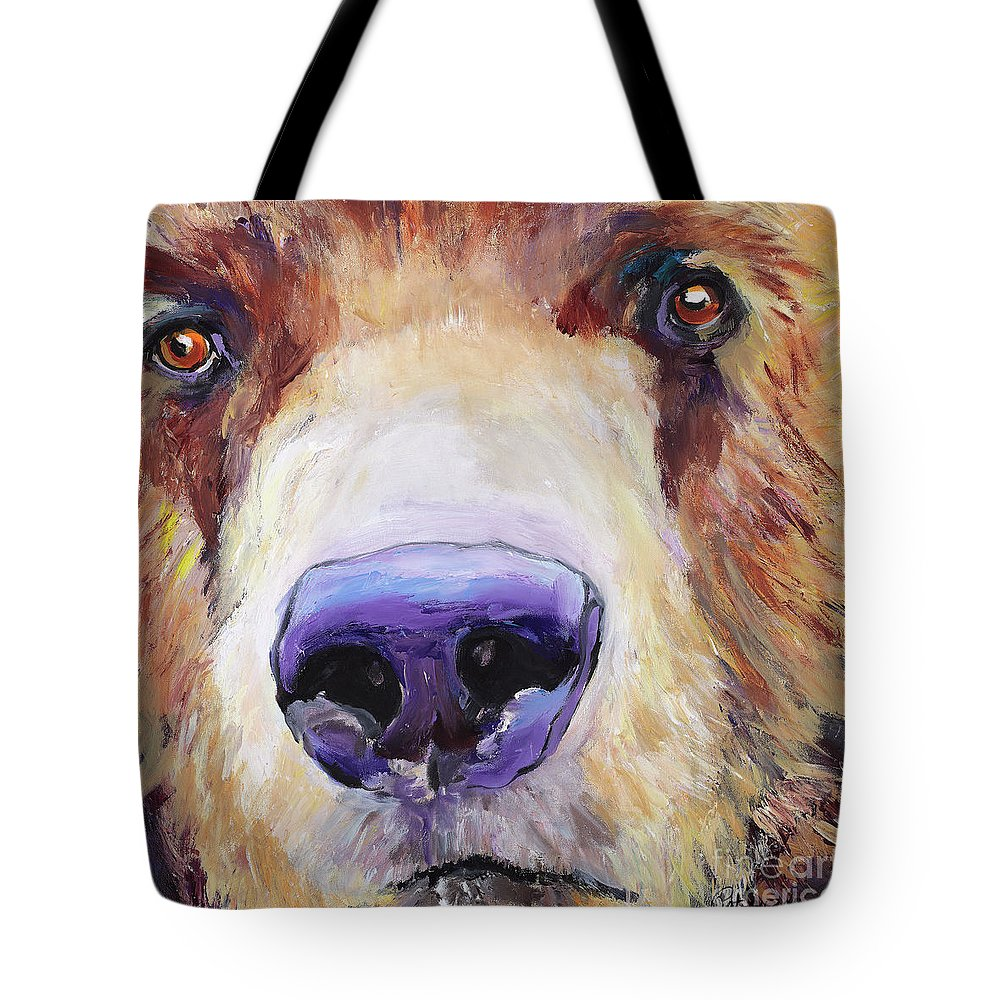 Grizzley Bear Tote Bag featuring the painting The Sniffer by Pat Saunders-White