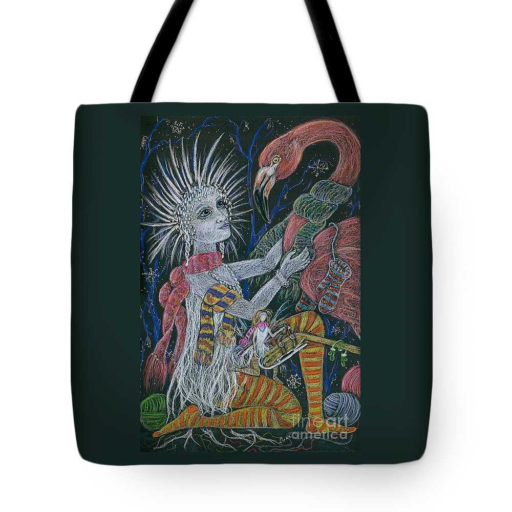 Snow Tote Bag featuring the drawing The Snow Queen by Dawn Fairies
