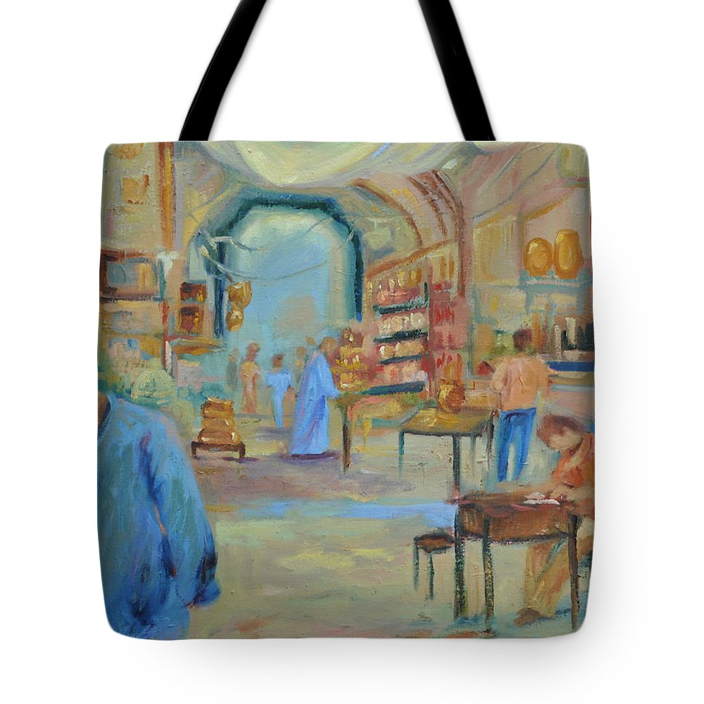 Figurative Tote Bag featuring the painting The Souk by Ginger Concepcion