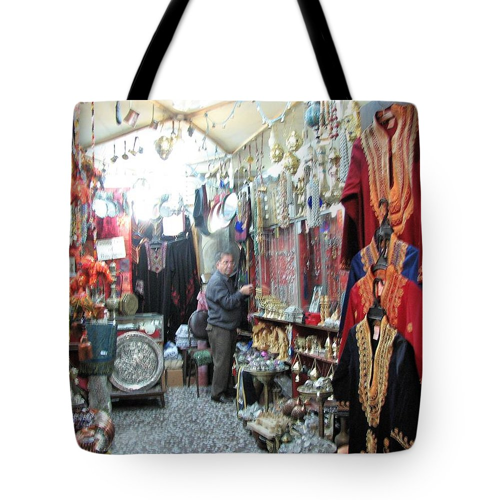 Israel Tote Bag featuring the photograph The Souk by Sandra Bourret