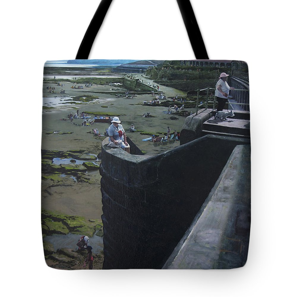 Britain Tote Bag featuring the painting The South Bay In Scarborough. by Harry Robertson