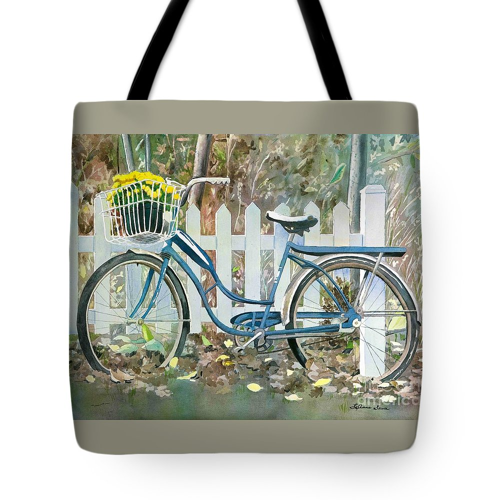 Cyclists Tote Bag featuring the painting The Special Delivery by LeAnne Sowa
