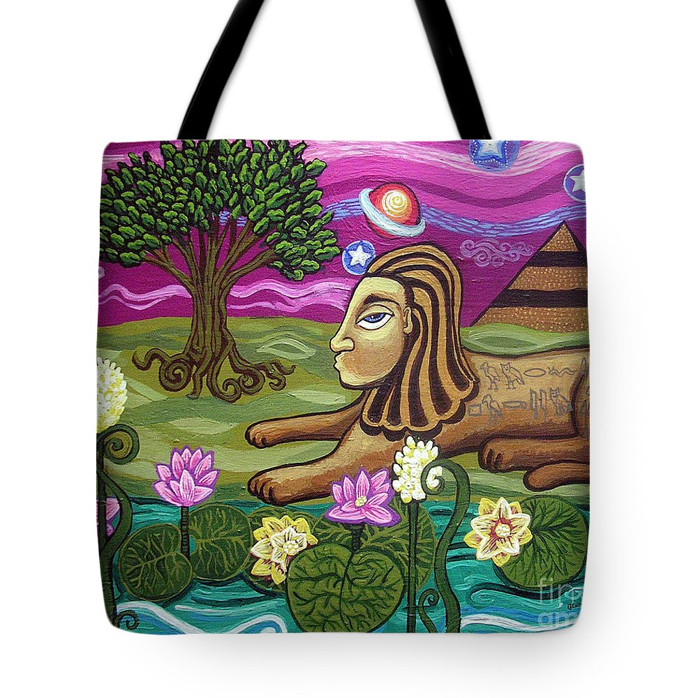 Egypt Tote Bag featuring the painting The Sphinx by Genevieve Esson