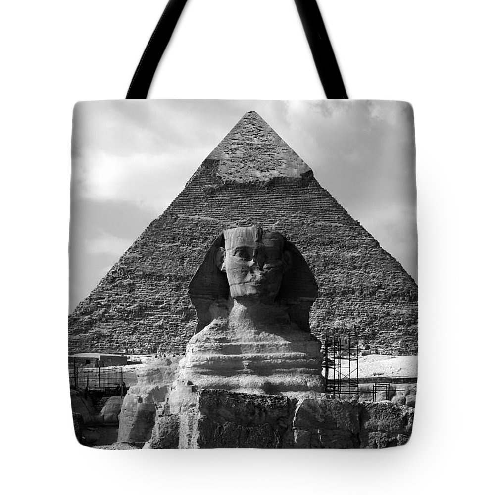 Pyramid Tote Bag featuring the photograph The Sphynx And The Pyramid by Donna Corless