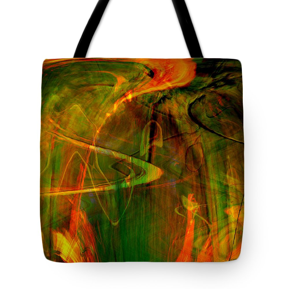 Abstract Digital Abstract Digital Painting Digital Art Design Dark Art Vibrant Art Yellow Tote Bag featuring the digital art The Spirit Glows by Linda Sannuti