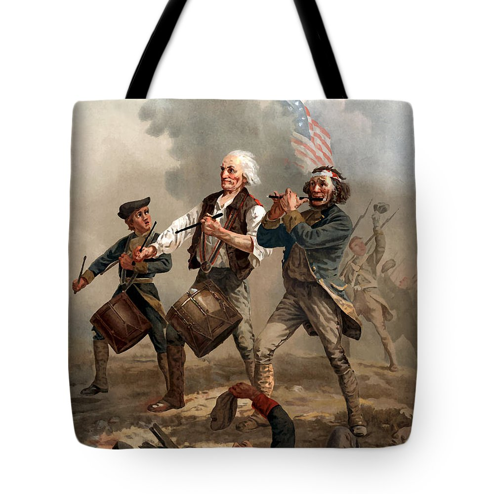 Yankee Doodle Tote Bag featuring the painting The Spirit of '76 by War Is Hell Store