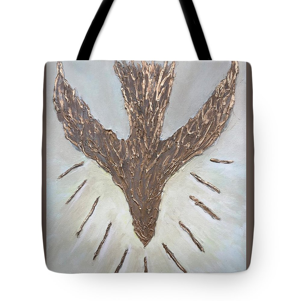 Baptism Tote Bag featuring the mixed media The Spirit Of The Lord by Judy Jones