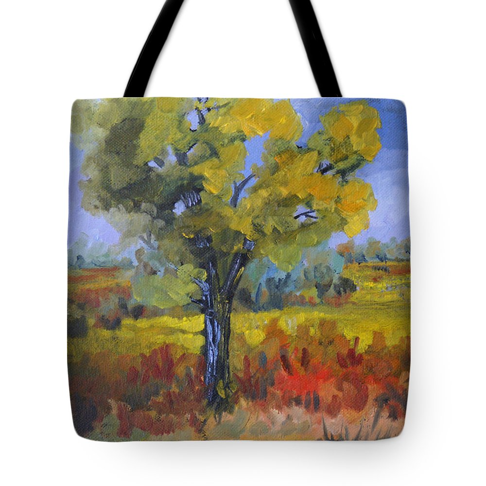 Spring Tote Bag featuring the painting The Spring Tree by Heather Coen
