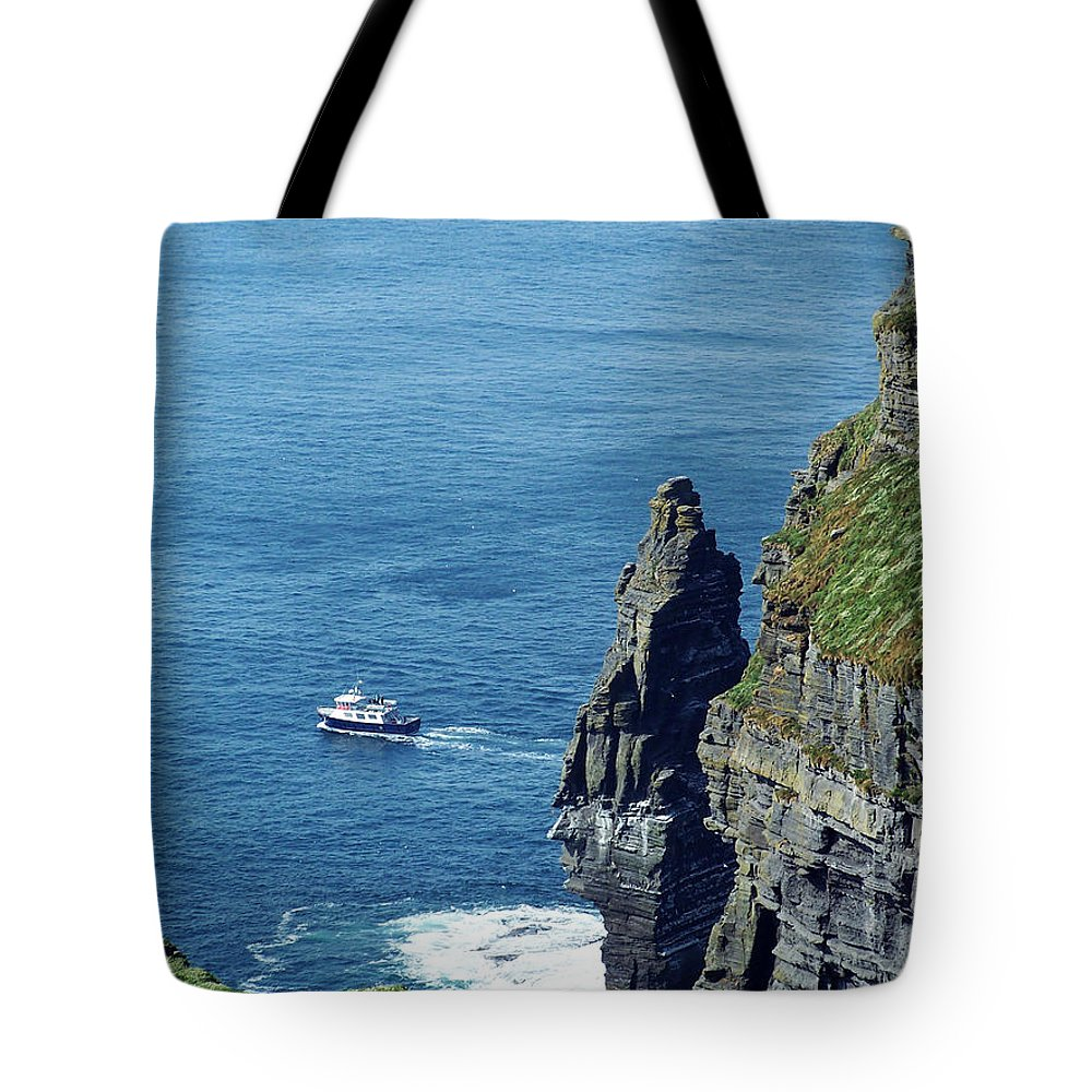 Irish Tote Bag featuring the photograph The Stack And The Jack B Cliffs Of Moher Ireland by Teresa Mucha