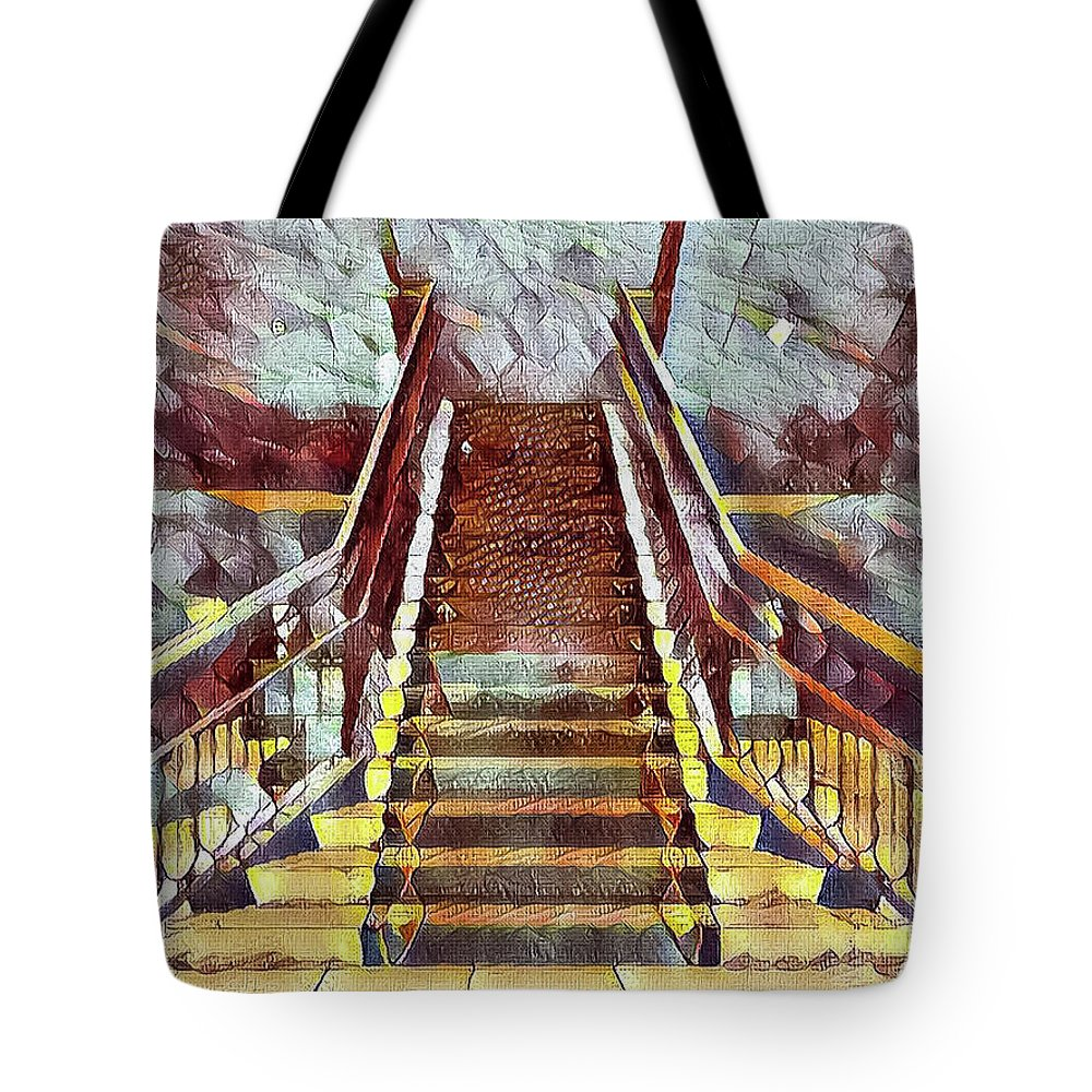 Abstract Tote Bag featuring the photograph The Stair by Jonathan Nguyen