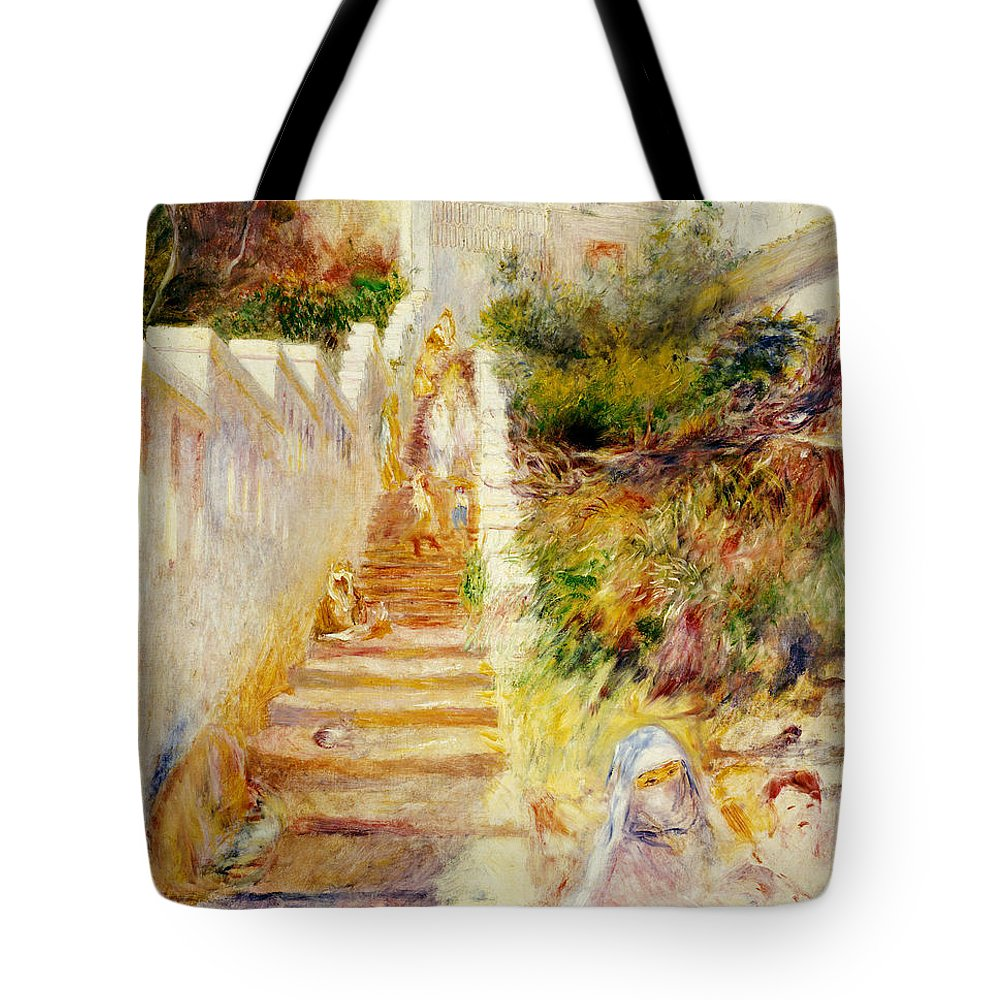 The Steps Tote Bag featuring the painting The Steps In Algiers by Pierre Auguste Renoir