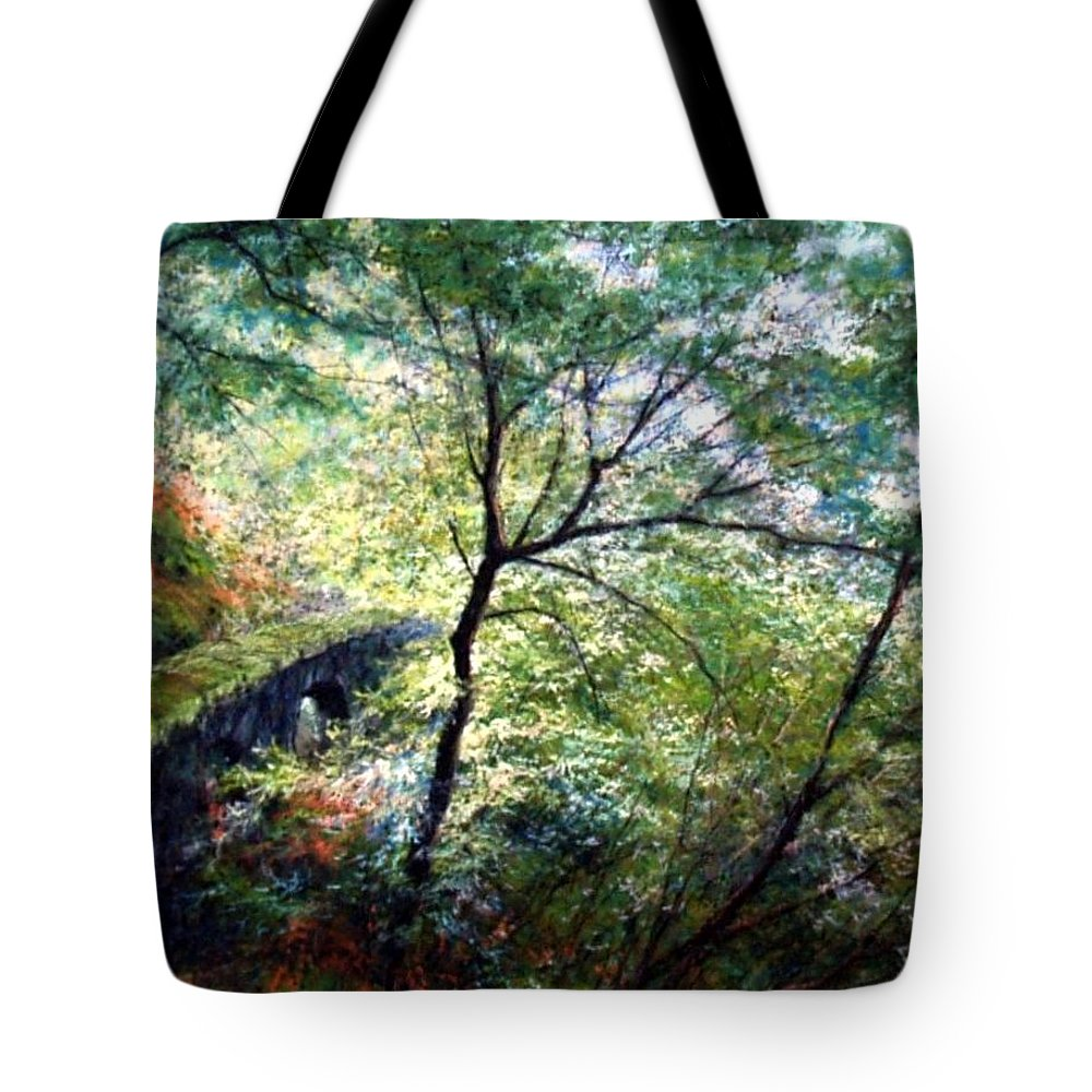 Pastel Tote Bag featuring the painting The Stone Wall by Jim Gola