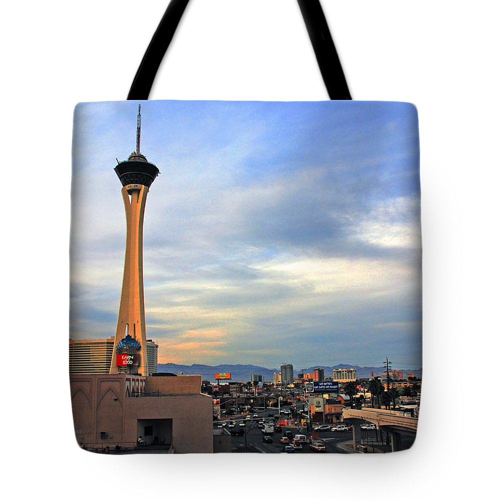 Photography Tote Bag featuring the photograph The Stratosphere In Las Vegas by Susanne Van Hulst