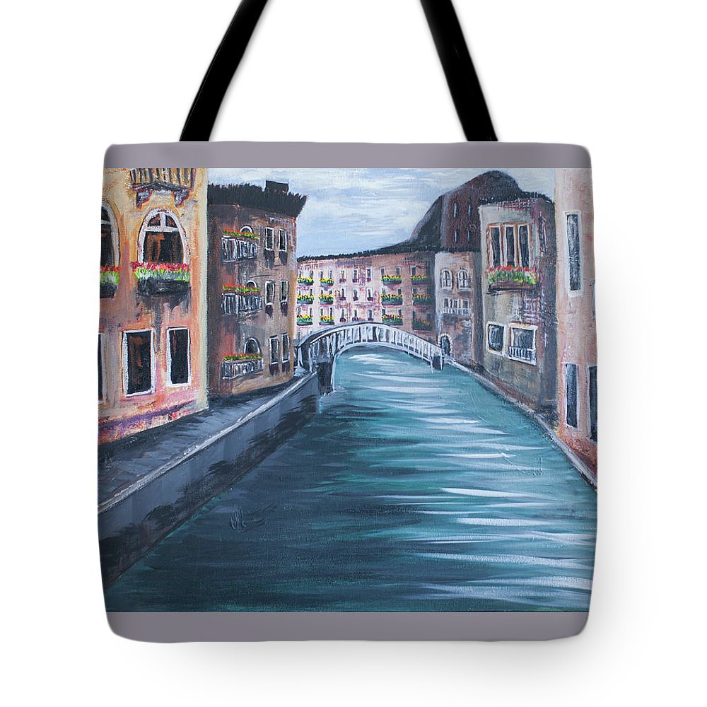 Landscape Tote Bag featuring the painting The Streets Of Italy by Amber Ellison