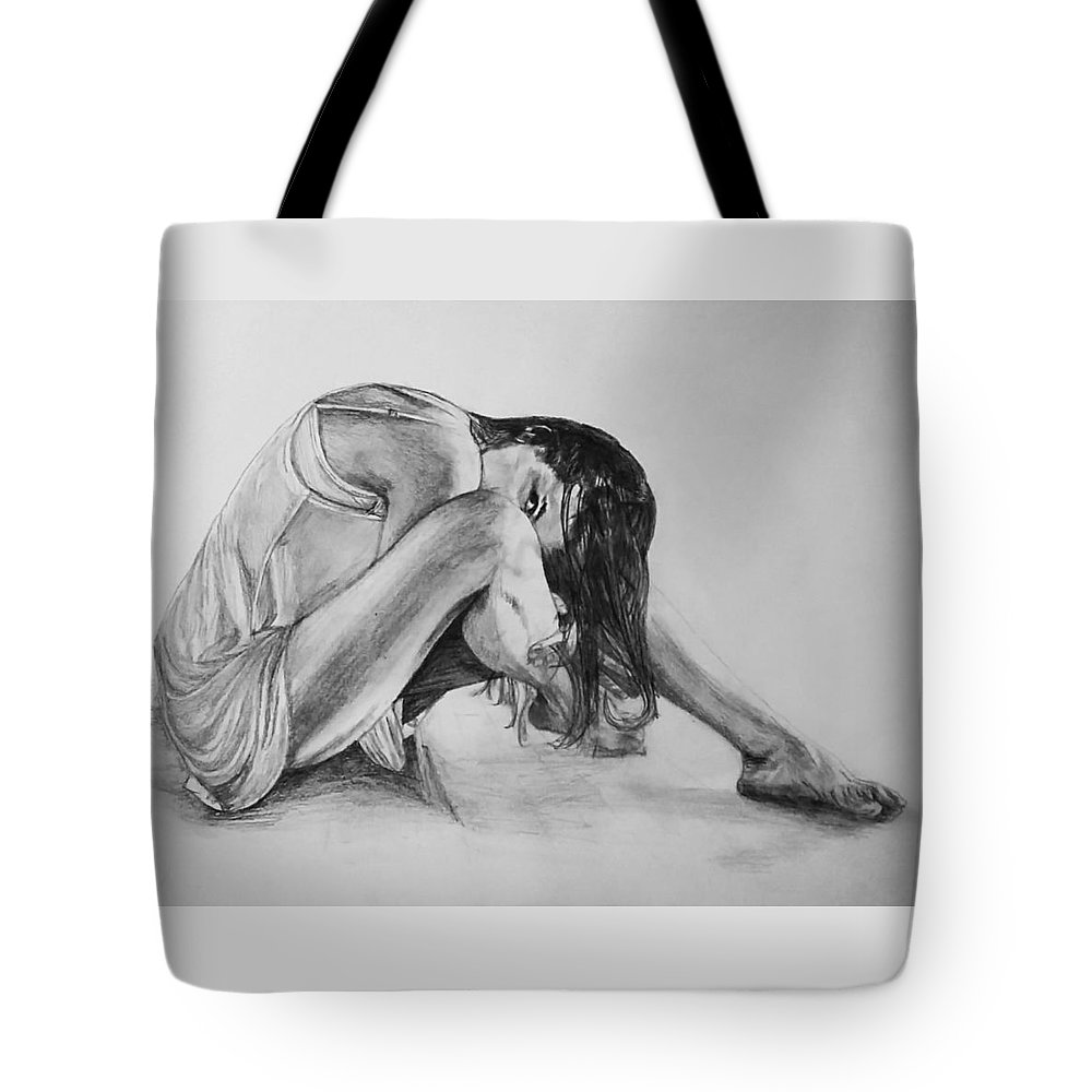Tote Bag featuring the drawing The Stretch by Sheryl Gallant