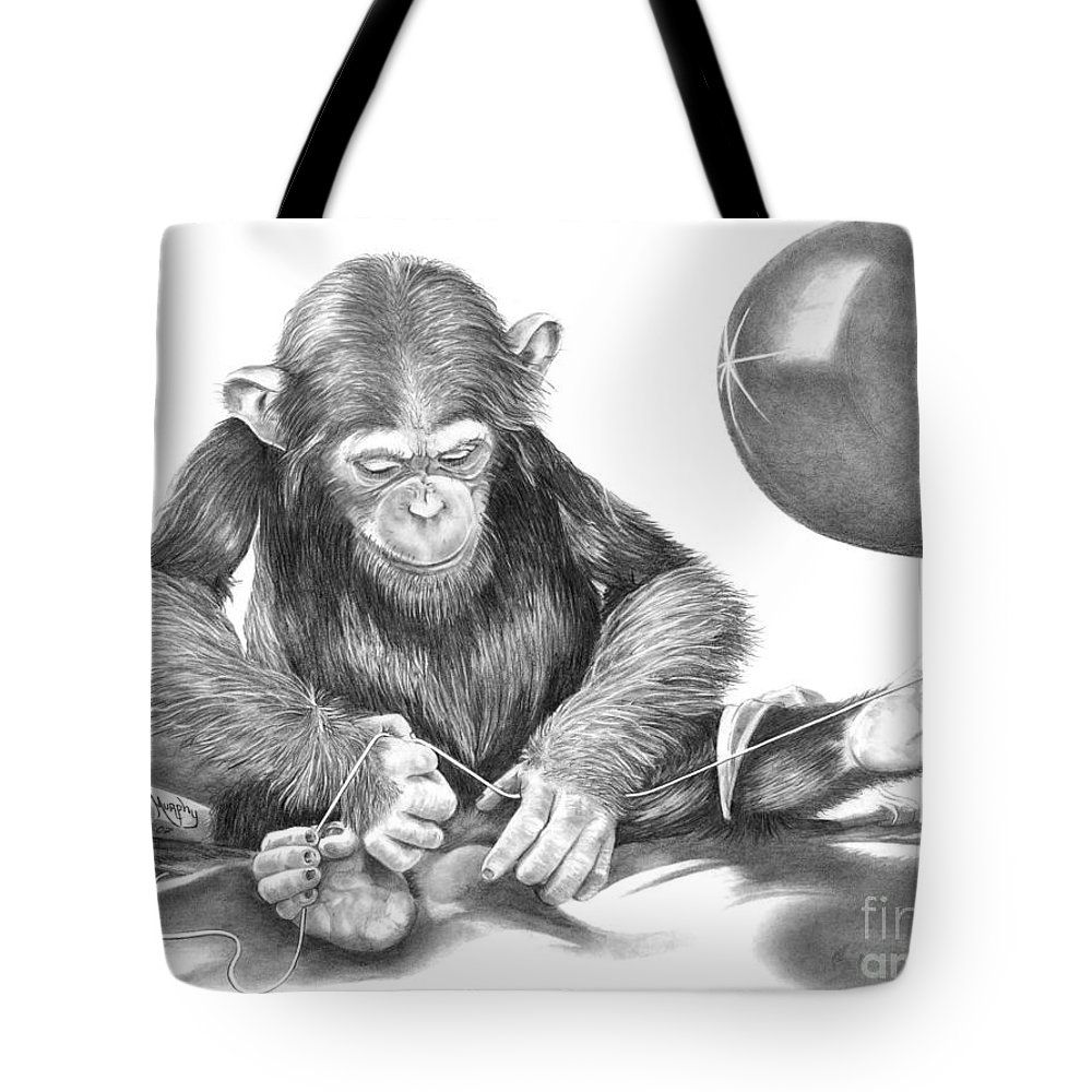 Pencil Tote Bag featuring the drawing The String Theory by Murphy Elliott
