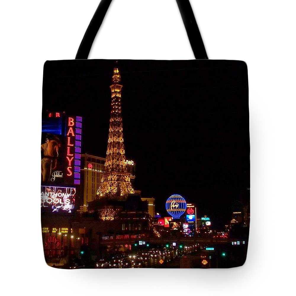 Vegas Tote Bag featuring the photograph The Strip At Night 1 by Anita Burgermeister