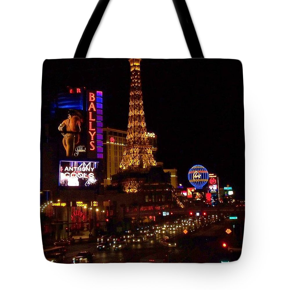 Vegas Tote Bag featuring the photograph The Strip At Night 2 by Anita Burgermeister