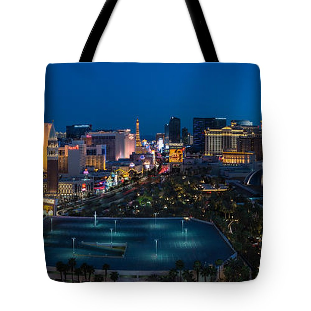 The Tote Bag featuring the photograph The Strip Las Vegas by Steve Gadomski