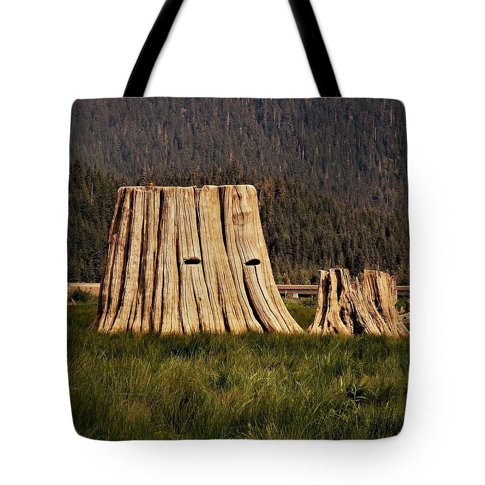 Keechelus Lake Tote Bag featuring the photograph The Stumps Have Eyes by Martin Brockhaus