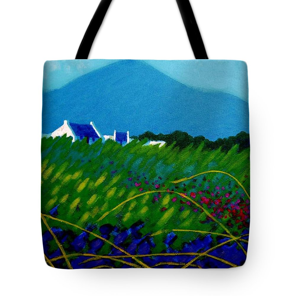Irish Landscape Tote Bag featuring the painting The Sugar Loaf County Wicklow Ireland by John Nolan
