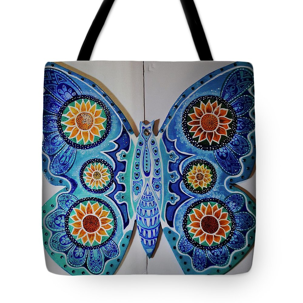 Art On Wood Tote Bag featuring the painting The Summer Butterfly by Patricia Arroyo