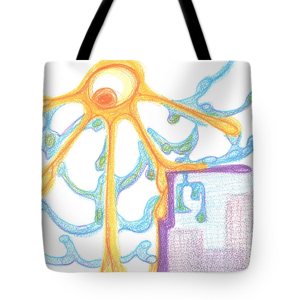 Contemporary Painting Tote Bag featuring the drawing The Sun Breaks Clouds. 19 September, 2015 by Tatiana Chernyavskaya