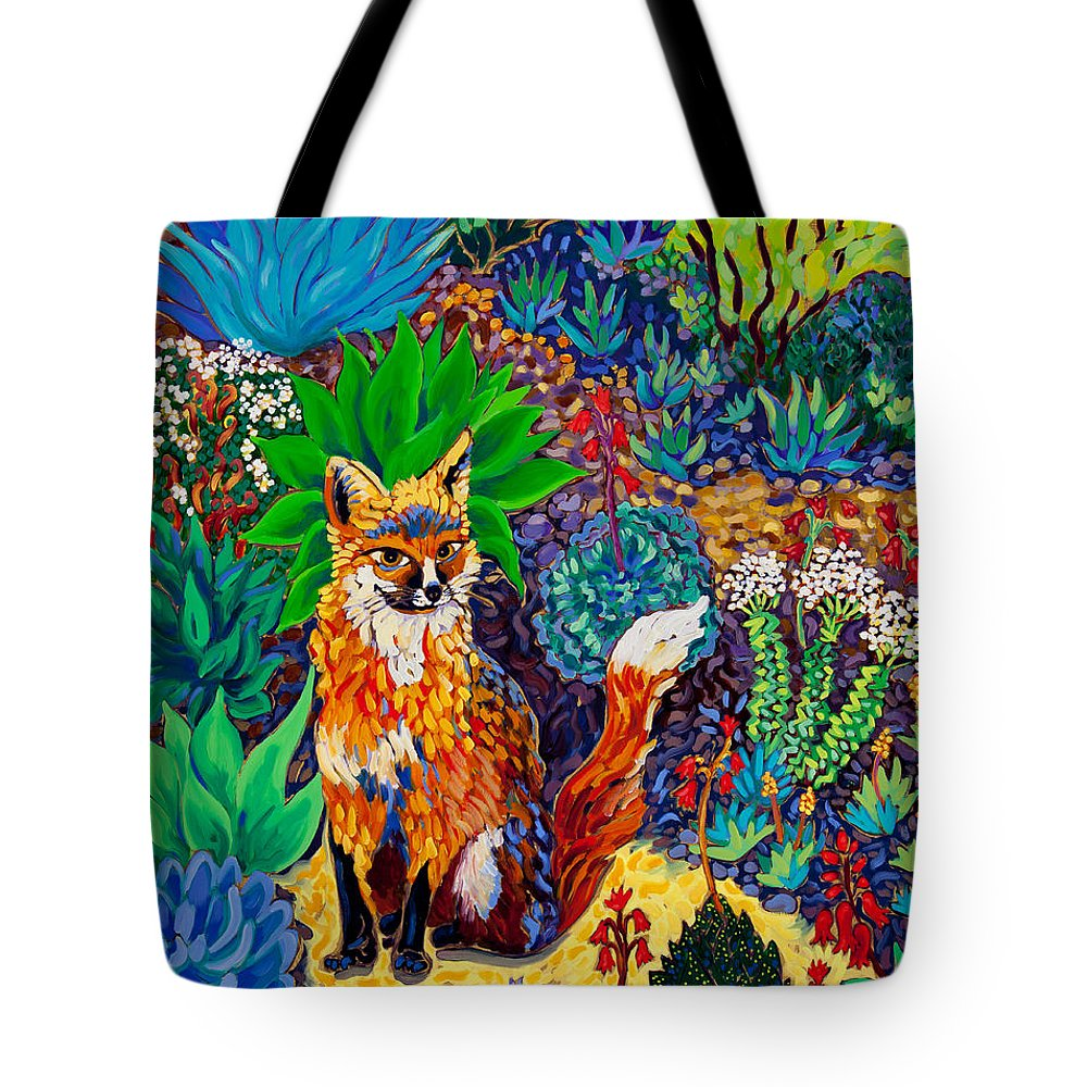 Fox Tote Bag featuring the painting The Sun Fox by Cathy Carey