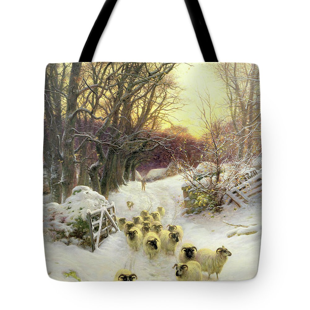 Sunset Tote Bag featuring the painting The Sun Had Closed the Winter's Day by Joseph Farquharson