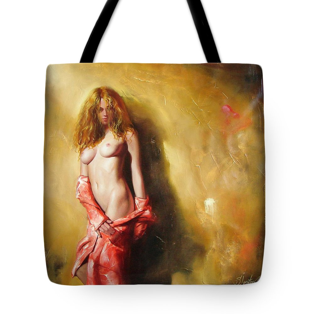 Art Tote Bag featuring the painting The Sun In Red by Sergey Ignatenko