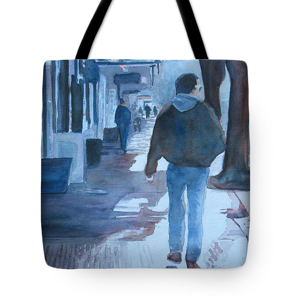 Cityscape Tote Bag featuring the painting The Sun Peeks Out At 2nd Street by Jenny Armitage