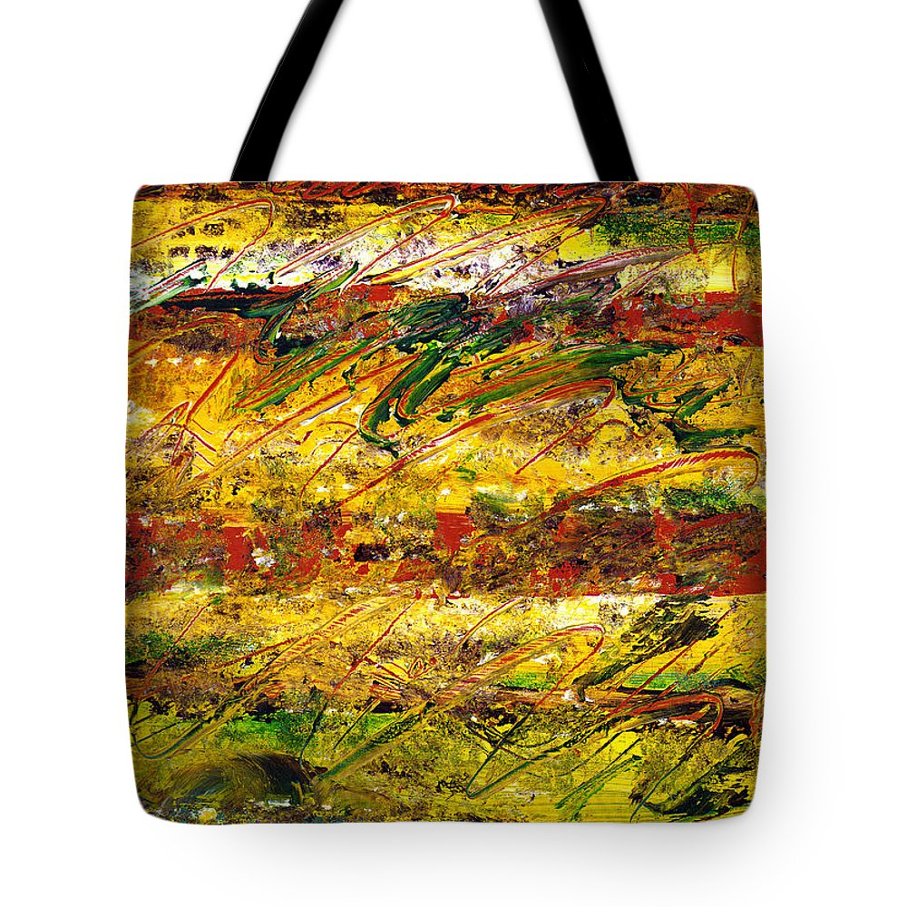 Abstract Tote Bag featuring the painting The Sun Rose One Strip At A Time 1 by Wayne Potrafka
