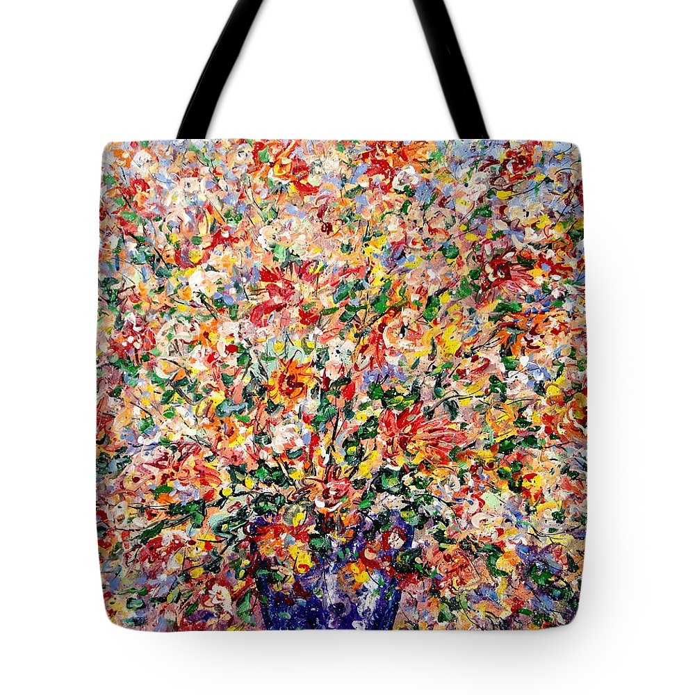 Flowers Tote Bag featuring the painting The Sunlight Flowers by Leonard Holland