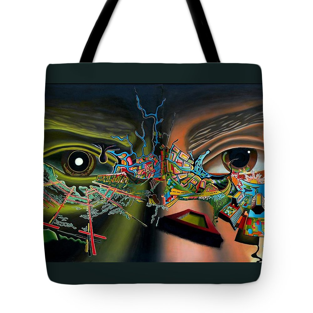 Surreal Tote Bag featuring the painting The Surreal Bridge by Dave Martsolf
