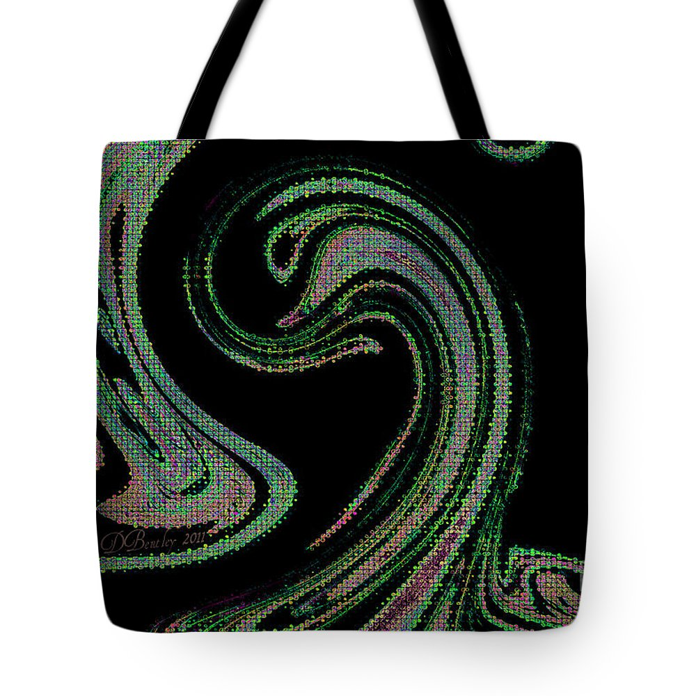 Abstract Tote Bag featuring the digital art The Swan by Donna Bentley