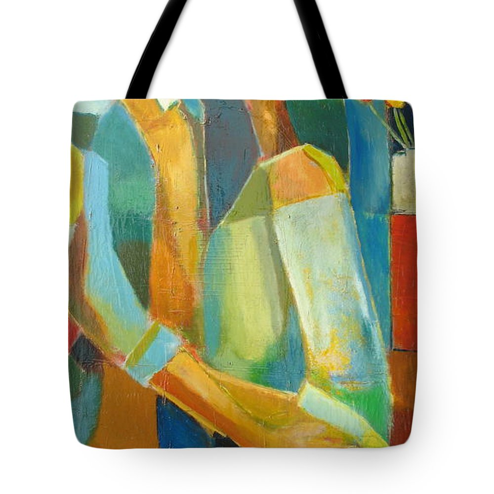Love Abstract Tote Bag featuring the painting The Sweet Kiss by Habib Ayat