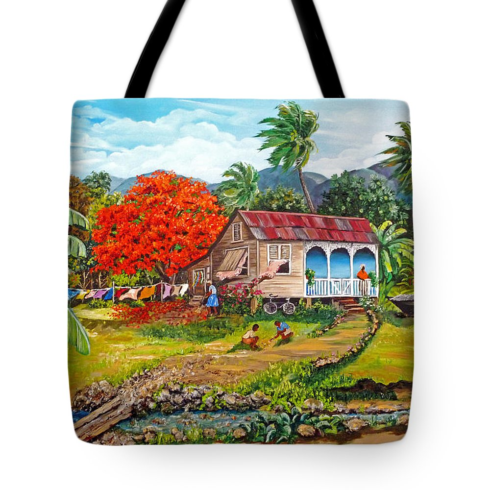 Tropical Scene Caribbean Scene Tote Bag featuring the painting The Sweet Life by Karin Dawn Kelshall- Best