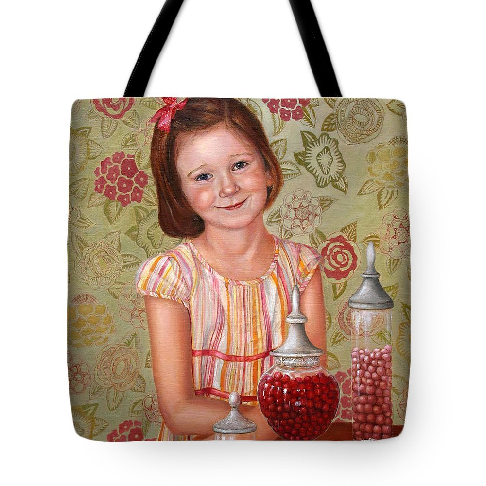Children Portrait Tote Bag featuring the painting The Sweet Sneak by Portraits By NC