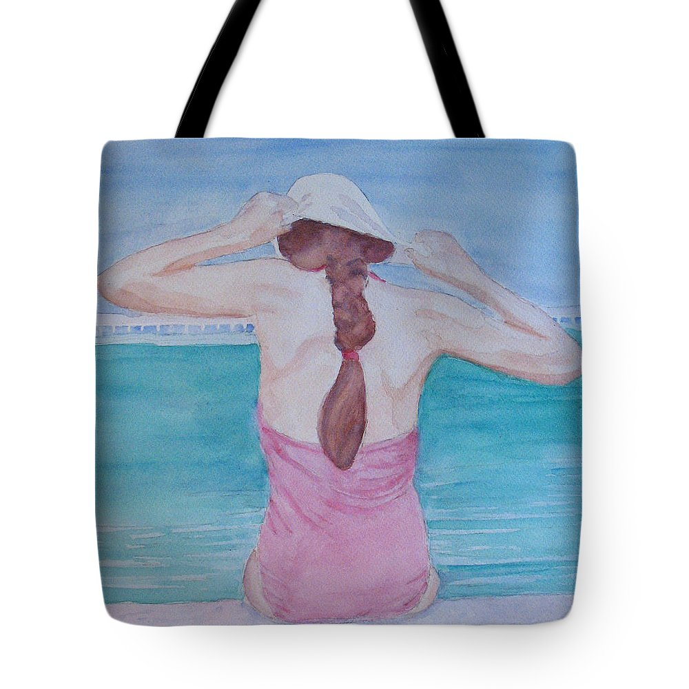 Girl Tote Bag featuring the painting The Swim Cap by Jenny Armitage