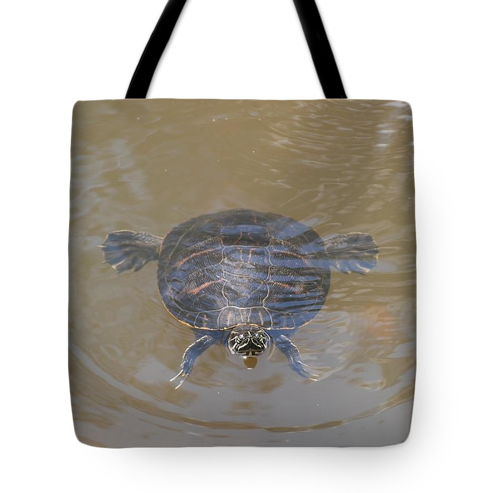Water Tote Bag featuring the photograph The Swimming Turtle by Rob Hans