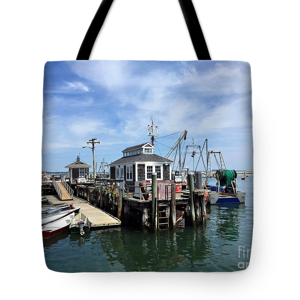 Ocean Tote Bag featuring the photograph The Tackle Shack by Roxanne Marshal