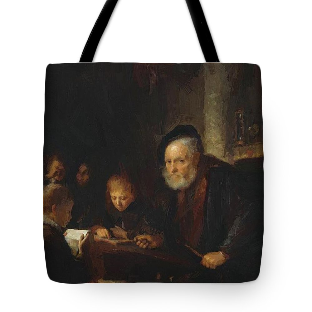 The Tote Bag featuring the painting The Teacher 1645 by Dou Gerrit