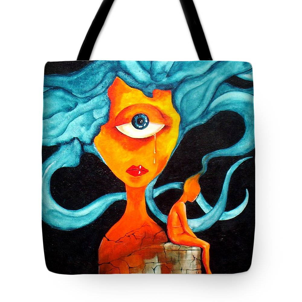 Surrealism Tote Bag featuring the painting The tear by Veronica Jackson