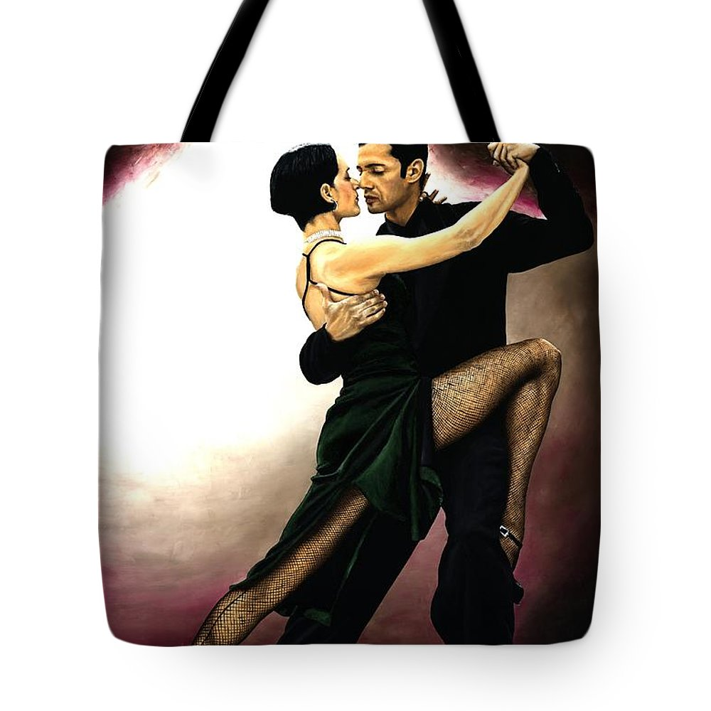 Tango Tote Bag featuring the painting The Temptation Of Tango by Richard Young